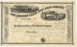 Eastern Texas Railroad Company Stock, July 17, 1861