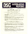 DSG legislative report, 1981-12-07 Report and Supplements
