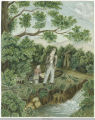 Water Color of Man and Boy Fishing