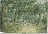 Water Color of Boy Walking Dogs on Trail