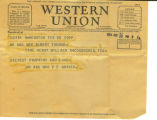 Western Union Telegram from Mr. and Mrs. P. F. Graves 1934