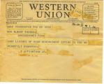 Western Union Telegram from E. J. Fountain Jr. 1934
