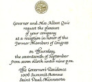 Invitation to Minnesota Governor's Residence