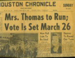 Newspaper Article Announcing Lera Thomas Running for Congress